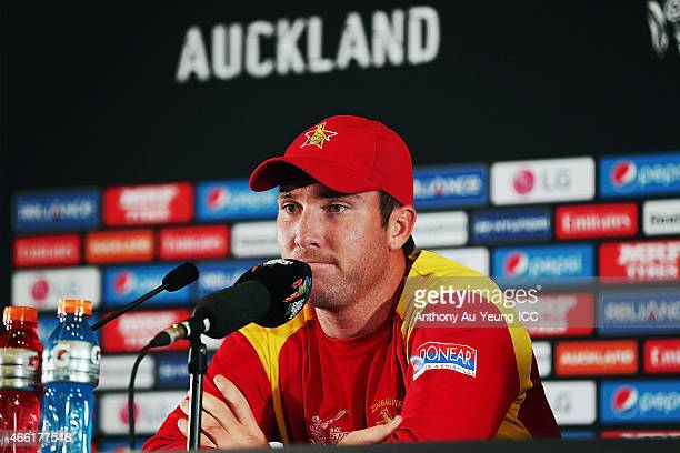 Brendan Taylor of Zimbabwe fronts the media at the press conference after the 2015 ICC Cricket World Cup match between India and Zimbabwe at Eden...