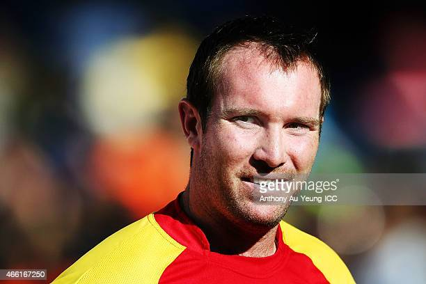 Brendan Taylor of Zimbabwe is interviewed at the mid innings during the 2015 ICC Cricket World Cup match between India and Zimbabwe at Eden Park on...