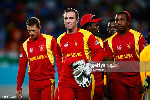 Brendan Taylor of Zimbabwe leads the team off the field at the end of the game during the 2015 ICC Cricket World Cup match between India and Zimbabwe...