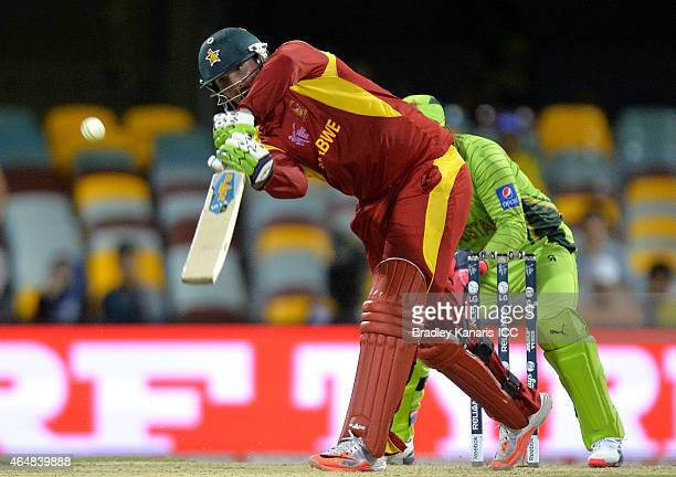 Brendan Taylor of Zimbabwe plays a shot during the 2015 ICC Cricket World Cup match between Pakistan and Zimbabwe at The Gabba on March 1 2015 in...