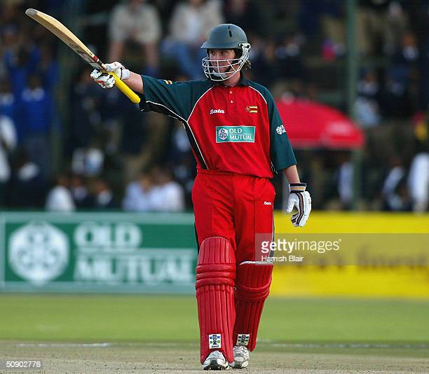 Brendan Taylor of Zimbabwe reaches 50 during the second One Day International between Australia and Zimbabwe played at Harare Sports Club on May 27...