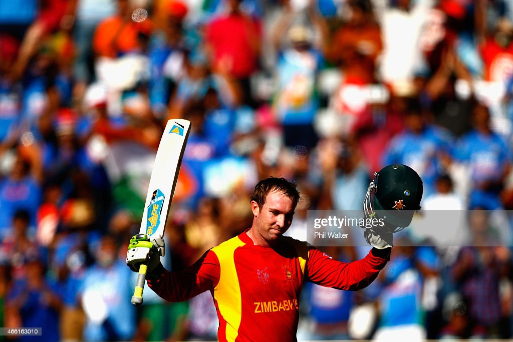 <a gi-track='captionPersonalityLinkClicked' href=/galleries/search?phrase=Brendan+Taylor&family=editorial&specificpeople=798976 ng-click='$event.stopPropagation()'>Brendan Taylor</a> of Zimbabwe salutes the crowd as he leaves the field after making 138 runs during the 2015 ICC Cricket World Cup match between India and Zimbabwe at Eden Park on March 14, 2015 in Auckland, New Zealand.