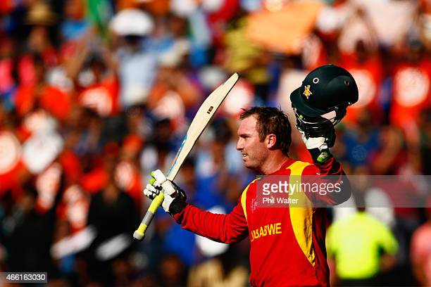 Brendan Taylor of Zimbabwe salutes the crowd as he leaves the field after making 138 runs during the 2015 ICC Cricket World Cup match between India...