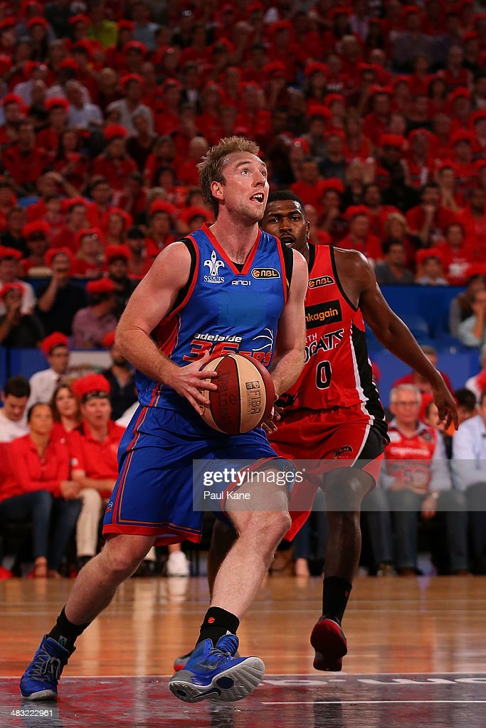 Brendan Teys of the 36ers drives to the basket during game one of the NBL Grand Final series between the Perth Wildcats and the Adelaide 36ers at Perth Arena on April 7, 2014 in Perth, Australia.