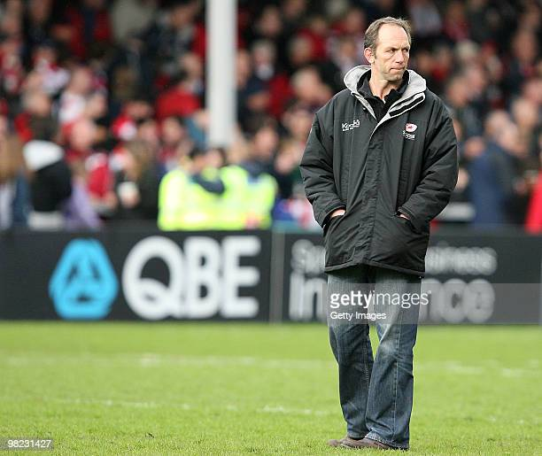 Brendan Venter coach of Saracens looks on during the Guinness Premiership match between Gloucester and Saracens at Kingsholm Stadium on April 03 2010...
