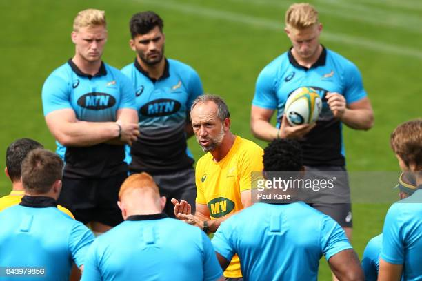 Brendan Venter Springboks defence coach address the players during the South Africa Springboks Captain's Run at nib Stadium on September 8 2017 in...