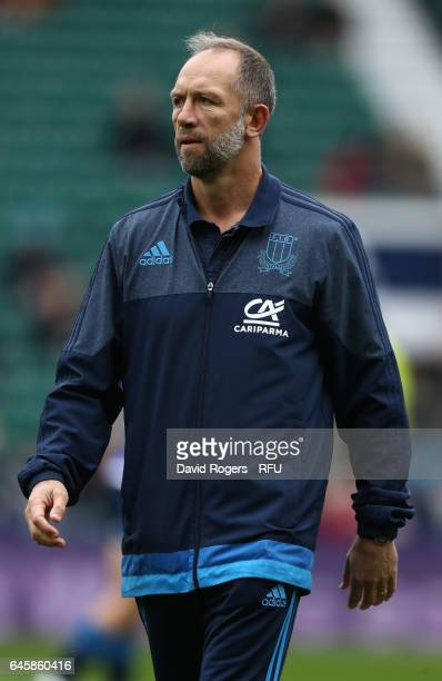 Brendan Venter the Italy defence consultant looks on during the RBS Six Nations match between England and Italy at Twickenham Stadium on February 26...