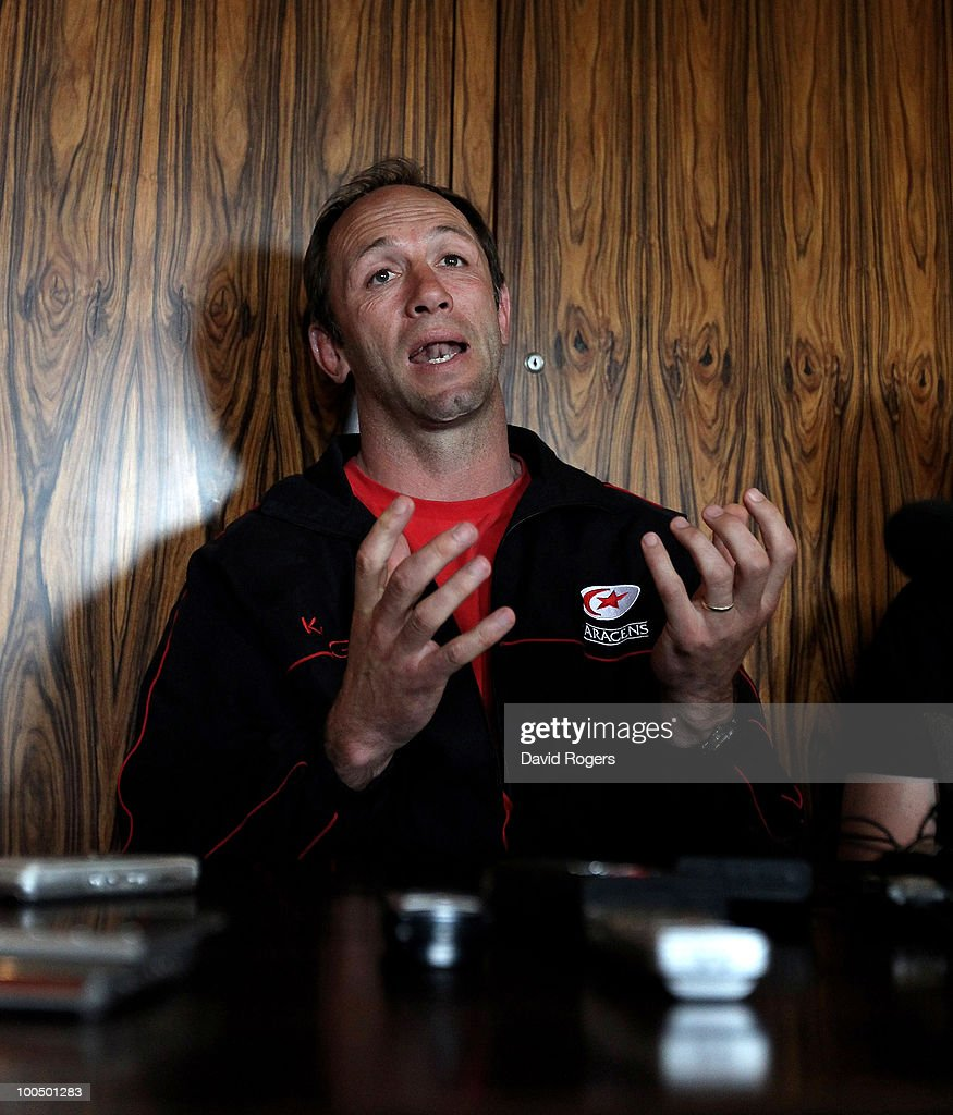 Brendan Venter, the Saracens director of rugby, faces the press during the Saracens media day on May 25, 2010 in St Albans, England.