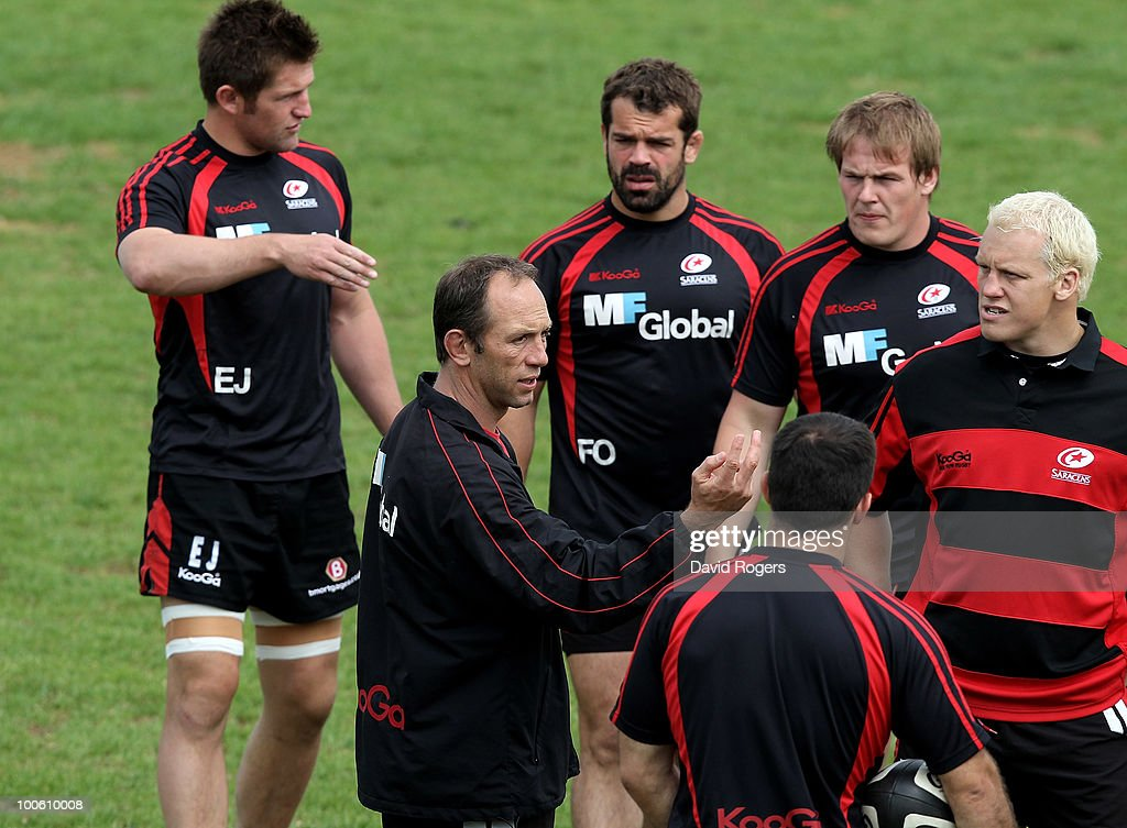 Brendan Venter, the Saracens director of rugby issues instructions during the Saracens training session on May 25, 2010 in St Albans, England.