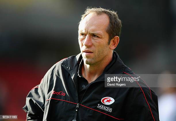 Brendan Venter the Saracens director of rugby looks on during the Guinness Premiership match between Saracens and Leeds Carnegie at Vicarage Road on...