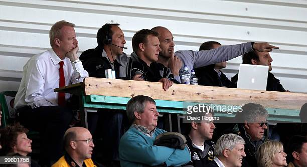 Brendan Venter the Saracens director of rugby looks on with club chief executive Edward Griffiths during the Guinness Premiership semi final match...