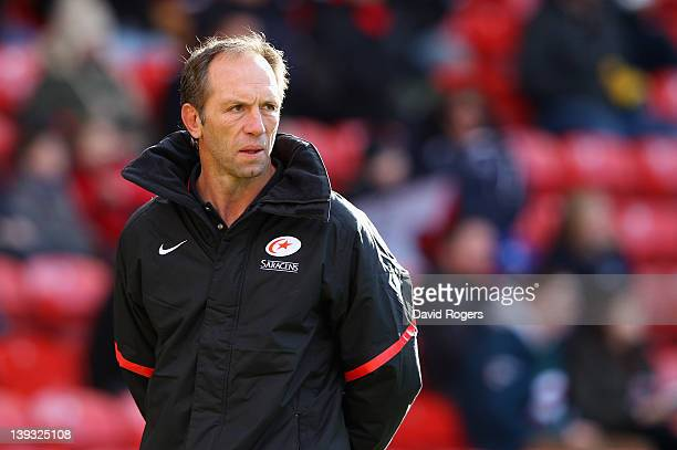 Brendan Venter the Saracens techical director looks on during the Aviva Premiership match between Saracens and Leicester Tigers at Vicarage Road on...