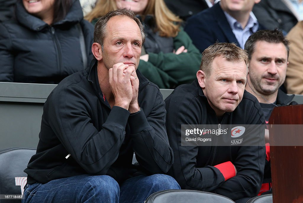 <a gi-track='captionPersonalityLinkClicked' href=/galleries/search?phrase=Brendan+Venter&family=editorial&specificpeople=2845752 ng-click='$event.stopPropagation()'>Brendan Venter</a>, (L) the Saracens technical director and Mark McCall, the director of rugby look dejected after their teams defeat during the Heineken Cup semi final match between Saracens and Toulon at Twickenham Stadium on April 28, 2013 in London, United Kingdom.