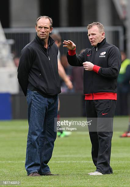 Brendan Venter the Saracens technical director and Mark McCall the director of rugby talk tactics prior to the Heineken Cup semi final match between...