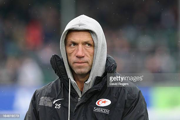 Brendan Venter the Saracens technical director looks on during the Aviva Premiership match between Saracens and Harlequins at Allianz Park on March...