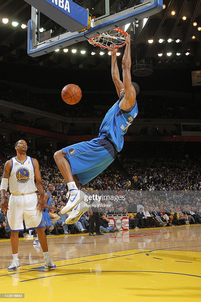 Brendan Wright #34 of the Dallas Mavericks dunks the ball against the Golden State Warriors on April 12, 2012 at Oracle Arena in Oakland, California.