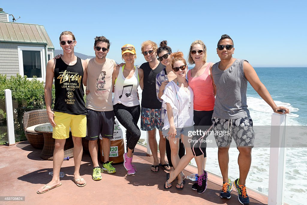 Brenden MacDonald, Kevin Manno, TV personality Ali Fedotowsky, actors Jonathan Bluth, Bri Cuoco, Amy Davidson, Ashley Jones and Rembrandt Flores attend the Muscle Milk Organic launch at Beach Haus Malibu on August 16, 2014 in Malibu, California.