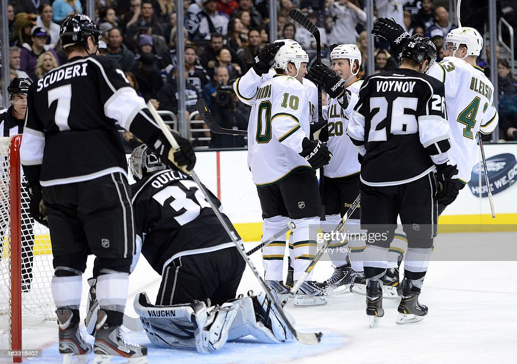 Brenden Morrow #10 of the Dallas Stars celebrates his goal for a 3-2 lead with Cody Eakin #20 in front of Jonathan Quick #32 of the Los Angeles Kings at Staples Center on March 7, 2013 in Los Angeles, California.