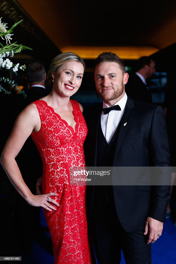 Brendon and Ellissa McCullum arrive for the New Zealand Cricket Awards at The Langham Hotel on April 1 2015 in Auckland New Zealand
