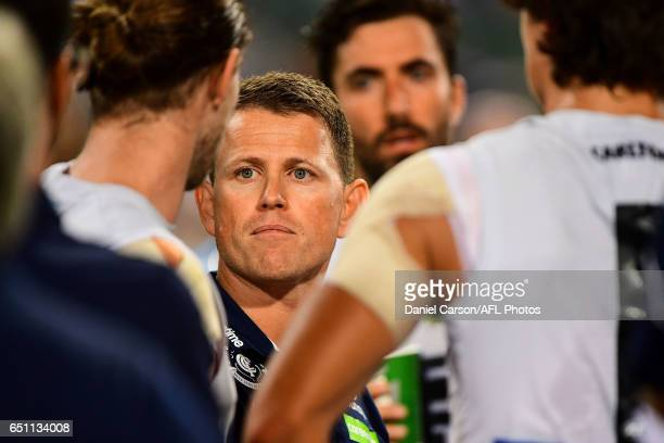 Brendon Bolton coach of the Blues addresses the team at three quarter time during the AFL 2017 JLT Community Series match between the Fremantle...