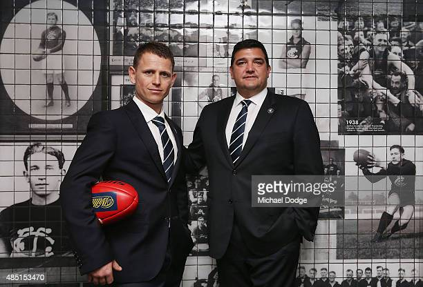 Brendon Bolton poses with President Mark LoGiudice after being announced as Carlton Football Club Senior Coach at Ikon Park on August 25 2015 in...