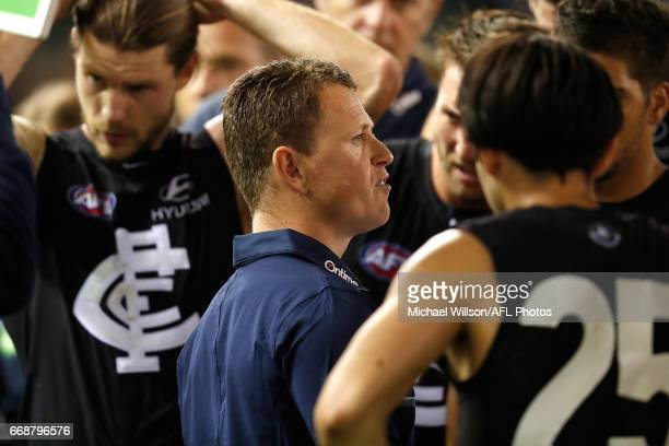 Brendon Bolton Senior Coach of the Blues addresses his players during the 2017 AFL round 04 match between the Carlton Blues and the Gold Coast Suns...