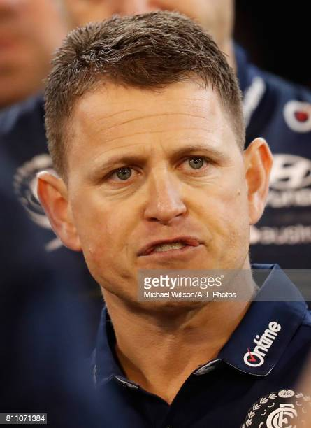 Brendon Bolton Senior Coach of the Blues addresses his players during the 2017 AFL round 16 match between the Carlton Blues and the Melbourne Demons...