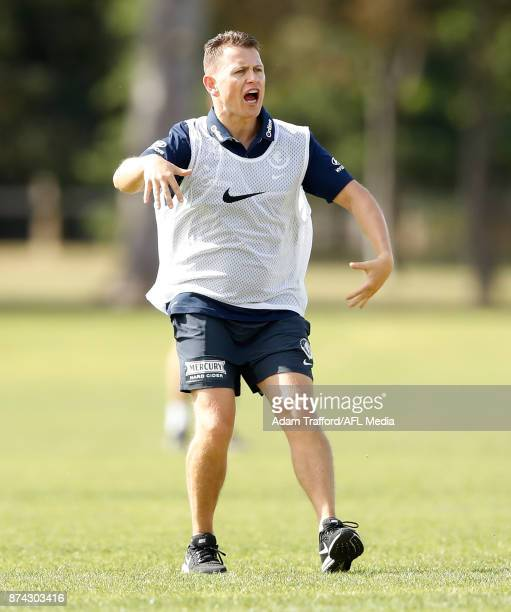 Brendon Bolton Senior Coach of the Blues addresses his players during the Carlton Blues training session at Princes Park on November 15 2017 in...