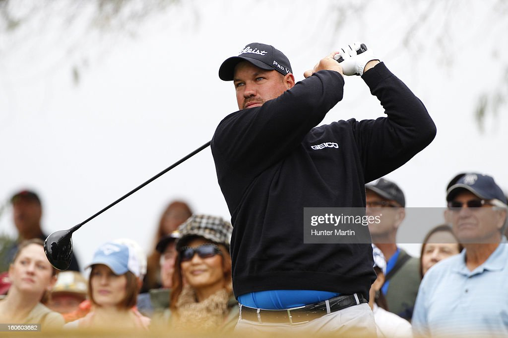 Brendon de Jonge hits his tee shot on the third hole during the final round of the Waste Management Phoenix Open at TPC Scottsdale on February 3, 2013 in Scottsdale, Arizona.