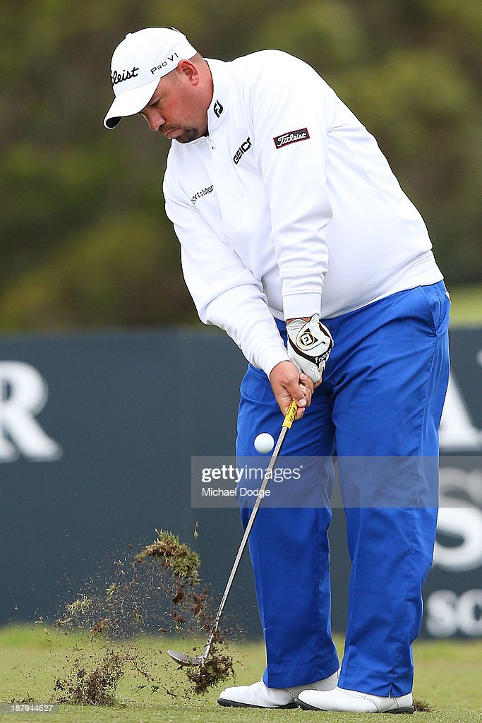 Brendon De Jonge of Zimbabwe hits an approach shot during round one of the 2013 Australian Masters at Royal Melbourne Golf Course on November 14, 2013 in Melbourne, Australia.