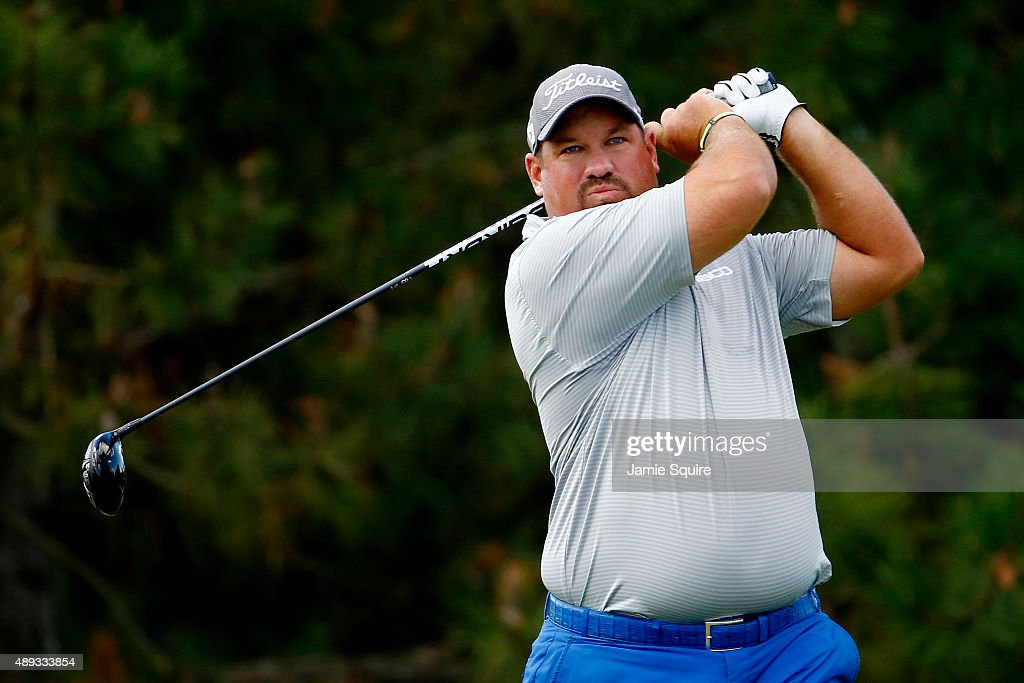 Brendon de Jonge of Zimbabwe plays his shot from the fourth tee during the Final Round of the BMW Championship at Conway Farms Golf Club on September...
