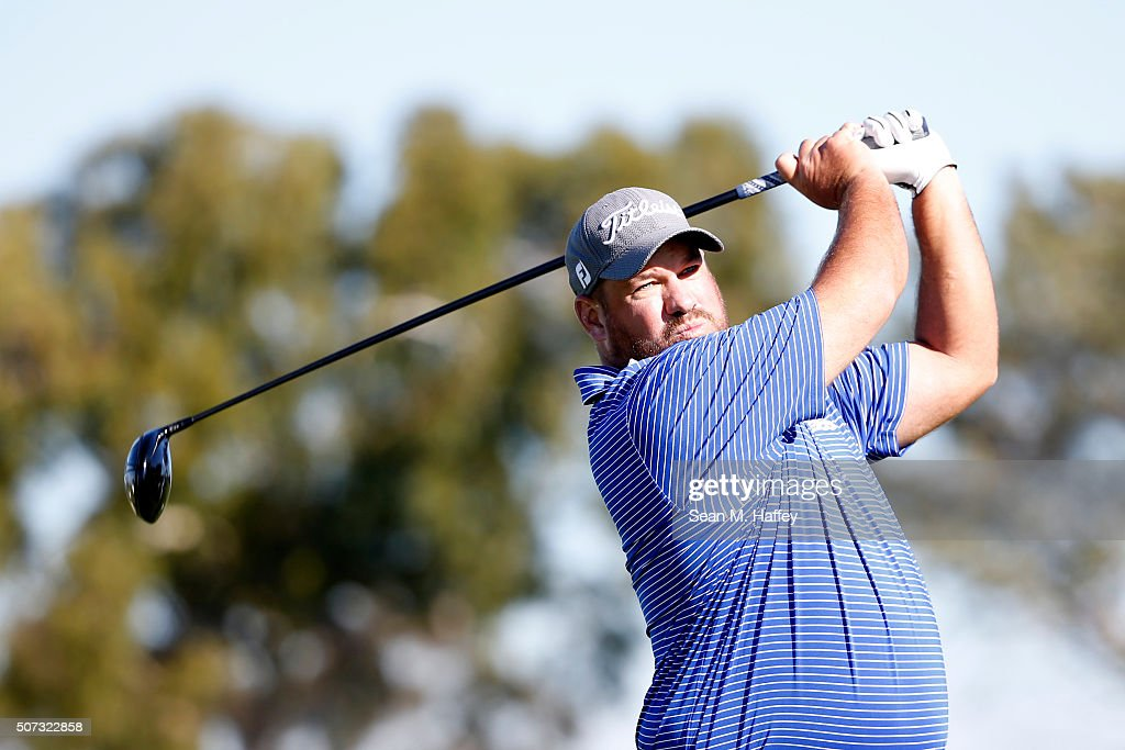Brendon de Jonge of Zimbabwe tees off on the 2nd hole during Round 1 of the Farmers Insurance Open at Torrey Pines South on January 28 2016 in San...