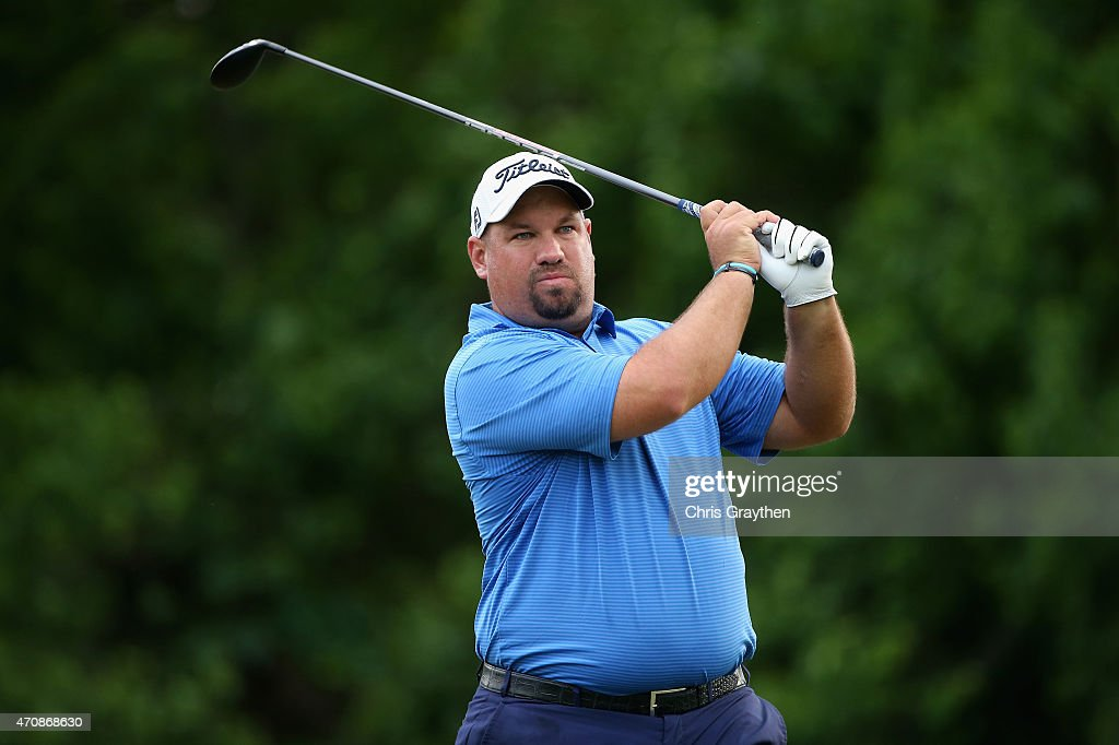 Brendon de Jonge of Zimbabwe tees off on the eighth hole during round one of the Zurich Classic of New Orleans at TPC Louisiana on April 23 2015 in...