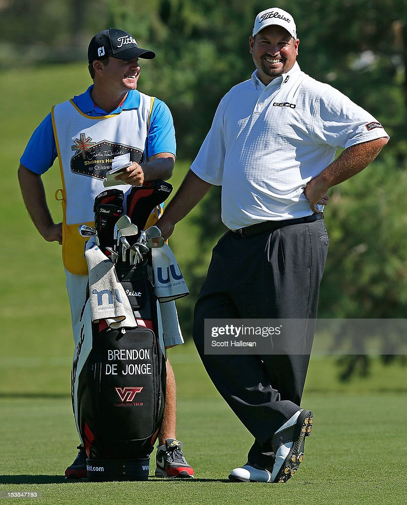 <a gi-track='captionPersonalityLinkClicked' href=/galleries/search?phrase=Brendon+de+Jonge&family=editorial&specificpeople=4444710 ng-click='$event.stopPropagation()'>Brendon de Jonge</a> waits with his caddie on the ninth hole during the third round of the Justin Timberlake Shriners Hospitals for Children Open at TPC Summerlin on October 6, 2012 in Las Vegas, Nevada.