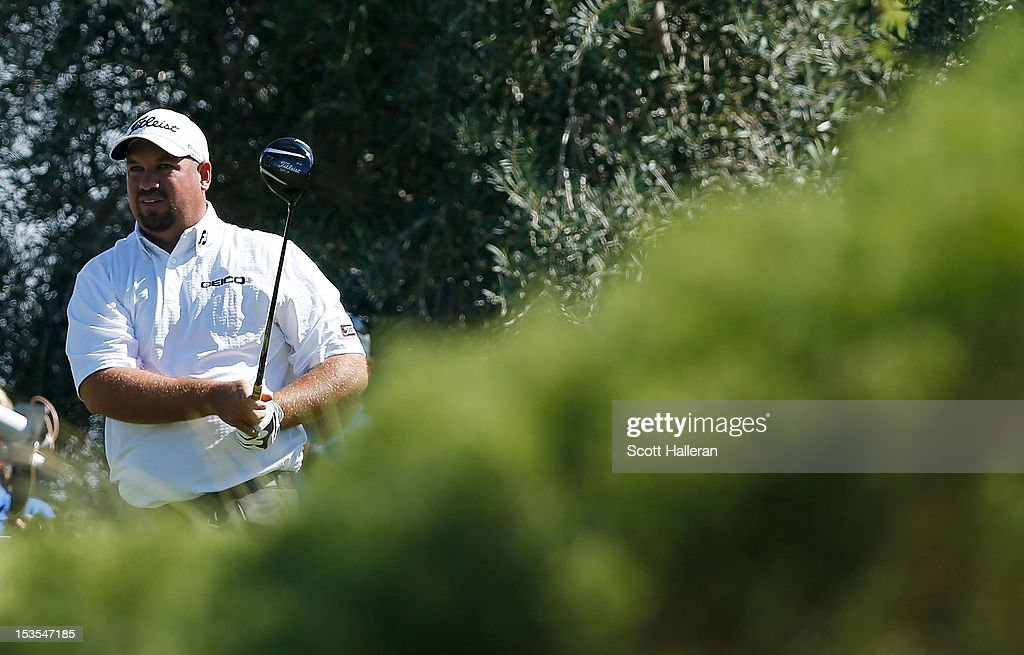 <a gi-track='captionPersonalityLinkClicked' href=/galleries/search?phrase=Brendon+de+Jonge&family=editorial&specificpeople=4444710 ng-click='$event.stopPropagation()'>Brendon de Jonge</a> watches his tee shot on the ninth hole during the third round of the Justin Timberlake Shriners Hospitals for Children Open at TPC Summerlin on October 6, 2012 in Las Vegas, Nevada.