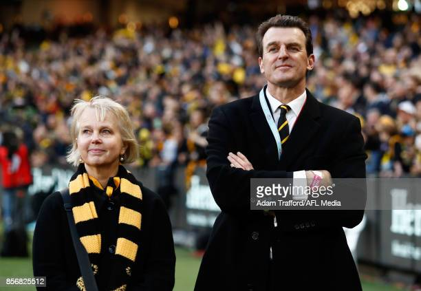 Brendon Gale CEO of the Tigers and Peggy O'Neale President of the Tigers look on during the 2017 Toyota AFL Grand Final match between the Adelaide...