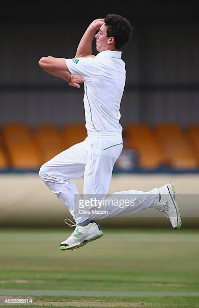 Brendon Glover of South Africa in action bowling during day two of the second test match between England U19's and South Africa U19's at The County...