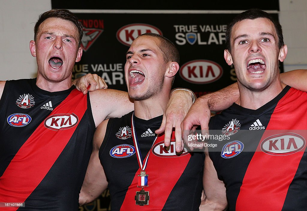 <a gi-track='captionPersonalityLinkClicked' href=/galleries/search?phrase=Brendon+Goddard&family=editorial&specificpeople=217747 ng-click='$event.stopPropagation()'>Brendon Goddard</a> (L) David Zaharakis (C) and <a gi-track='captionPersonalityLinkClicked' href=/galleries/search?phrase=Brent+Stanton&family=editorial&specificpeople=234867 ng-click='$event.stopPropagation()'>Brent Stanton</a> of the Bombers celebrate their win during round five AFL match between the Essendon Bombers and the Collingwood Magpies at Melbourne Cricket Ground on April 25, 2013 in Melbourne, Australia.