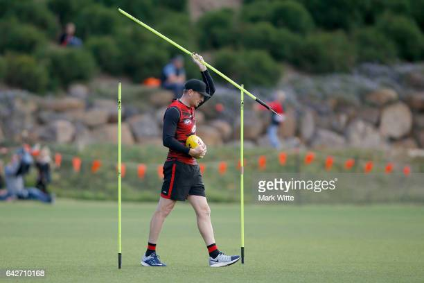 Brendon Goddard of Essendon Bombers throws one of the training equipment during the Essendon Bombers AFL Family Day at Essendon Football Club on...