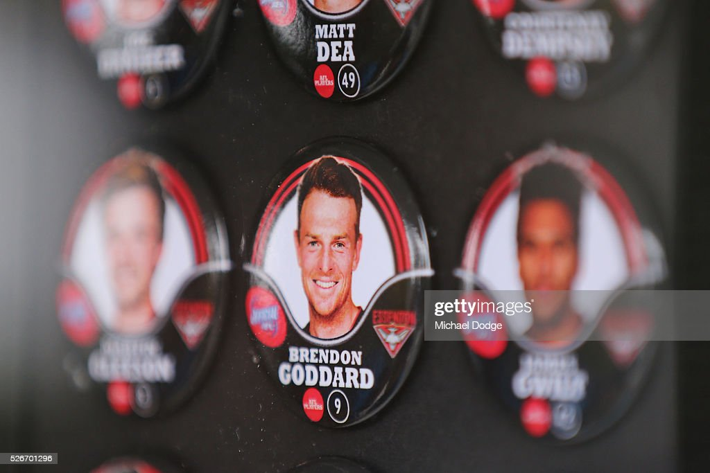 A Brendon Goddard of the Bombers badge is displayed for purchase during the round six AFL match between the Carlton Blues and the Essendon Bombers at Melbourne Cricket Ground on May 1, 2016 in Melbourne, Australia.
