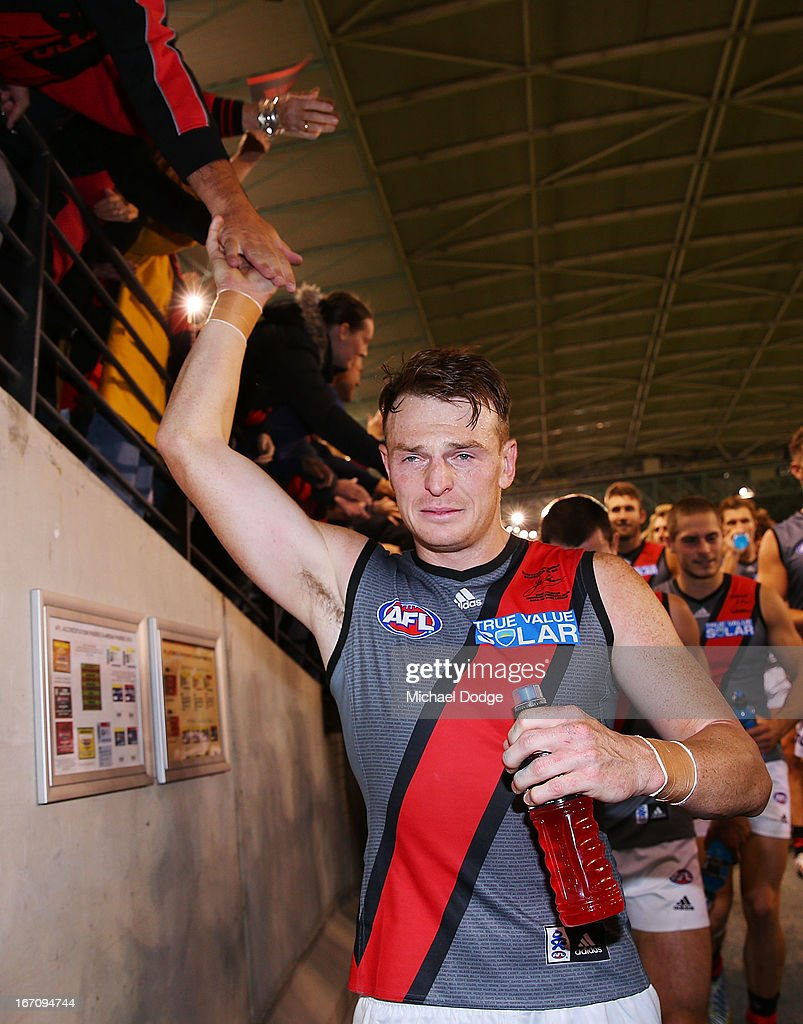 <a gi-track='captionPersonalityLinkClicked' href=/galleries/search?phrase=Brendon+Goddard&family=editorial&specificpeople=217747 ng-click='$event.stopPropagation()'>Brendon Goddard</a> of the Bombers cries after the game in the round four AFL match between the St Kilda Saints and the Essendon Bombers at Etihad Stadium on April 20, 2013 in Melbourne, Australia.