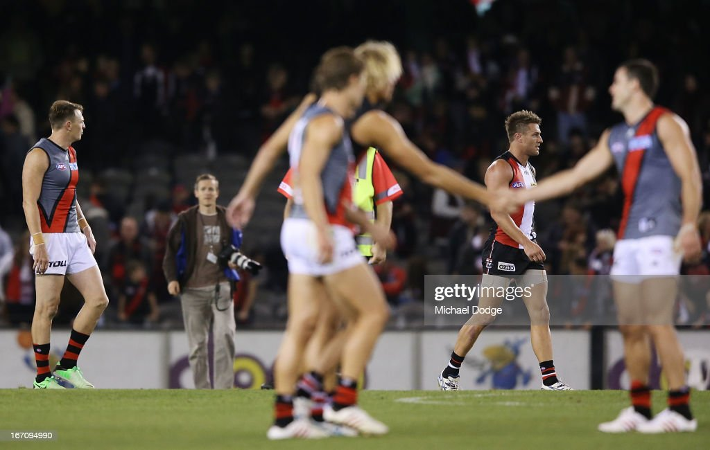 <a gi-track='captionPersonalityLinkClicked' href=/galleries/search?phrase=Brendon+Goddard&family=editorial&specificpeople=217747 ng-click='$event.stopPropagation()'>Brendon Goddard</a> (L) of the Bombers gestures to Sam Fisher of the Saints after the game in the round four AFL match between the St Kilda Saints and the Essendon Bombers at Etihad Stadium on April 20, 2013 in Melbourne, Australia.