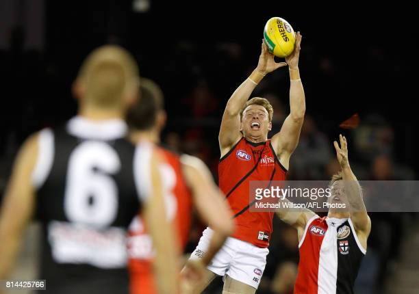 Brendon Goddard of the Bombers marks the ball during the 2017 AFL round 17 match between the St Kilda Saints and the Essendon Bombers at Etihad...