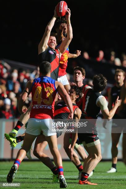 Brendon Goddard of the Bombers marks the ball during the round 15 AFL match between the Essendon Bombers and the Brisbane Lions at Etihad Stadium on...