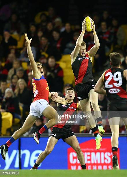 Brendon Goddard of the Bombers marks the ball during the round 18 AFL match between the Essendon Bombers and the Brisbane Lions at Etihad Stadium on...