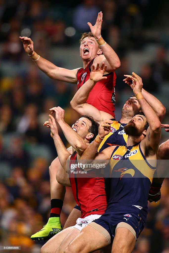 <a gi-track='captionPersonalityLinkClicked' href=/galleries/search?phrase=Brendon+Goddard&family=editorial&specificpeople=217747 ng-click='$event.stopPropagation()'>Brendon Goddard</a> of the Bombers sets for a mark during the round 15 AFL match between the West Coast Eagles and the Essendon Bombers at Domain Stadium on June 30, 2016 in Perth, Australia.