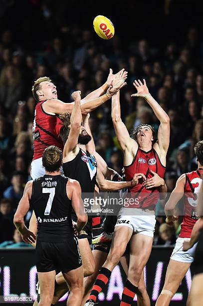 Brendon Goddard of the Bombers takes a mark during the round three AFL match between the Port Adelaide Power and the Essendon Bombers at Adelaide...