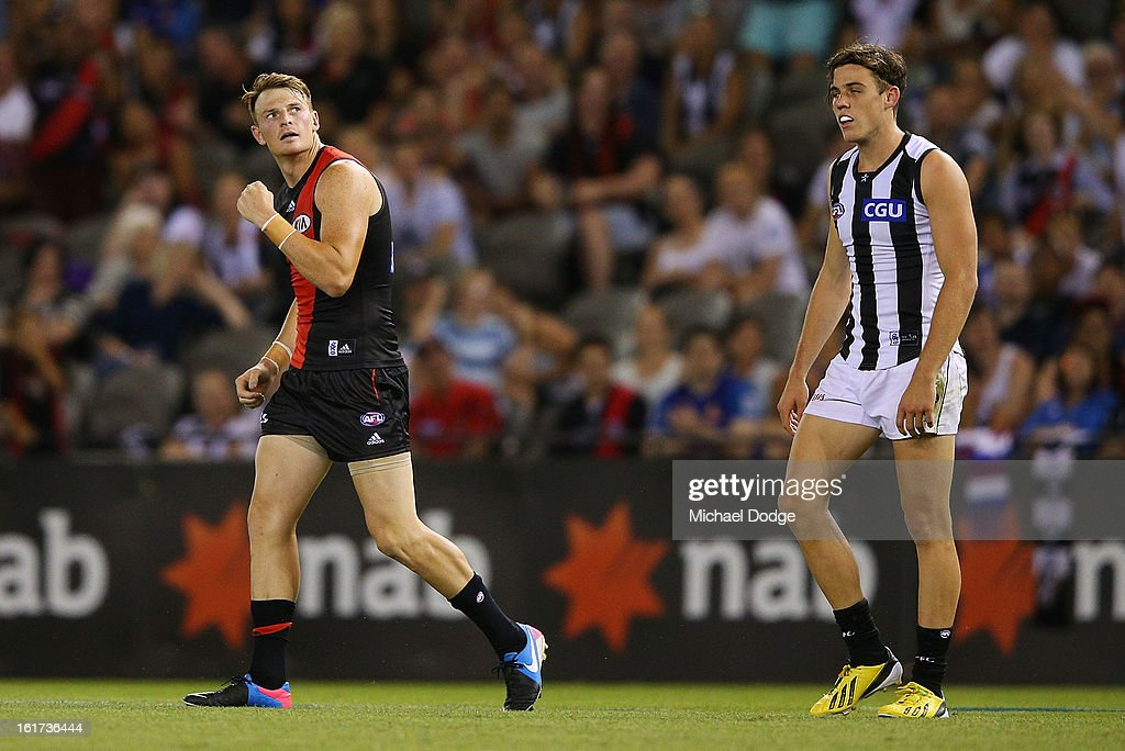 <a gi-track='captionPersonalityLinkClicked' href=/galleries/search?phrase=Brendon+Goddard&family=editorial&specificpeople=217747 ng-click='$event.stopPropagation()'>Brendon Goddard</a> of the Essendon Bombers celebrates a goal during the round one AFL NAB Cup match between the Collingwood Magpies and the Essendon Bombers at Etihad Stadium on February 15, 2013 in Melbourne, Australia.