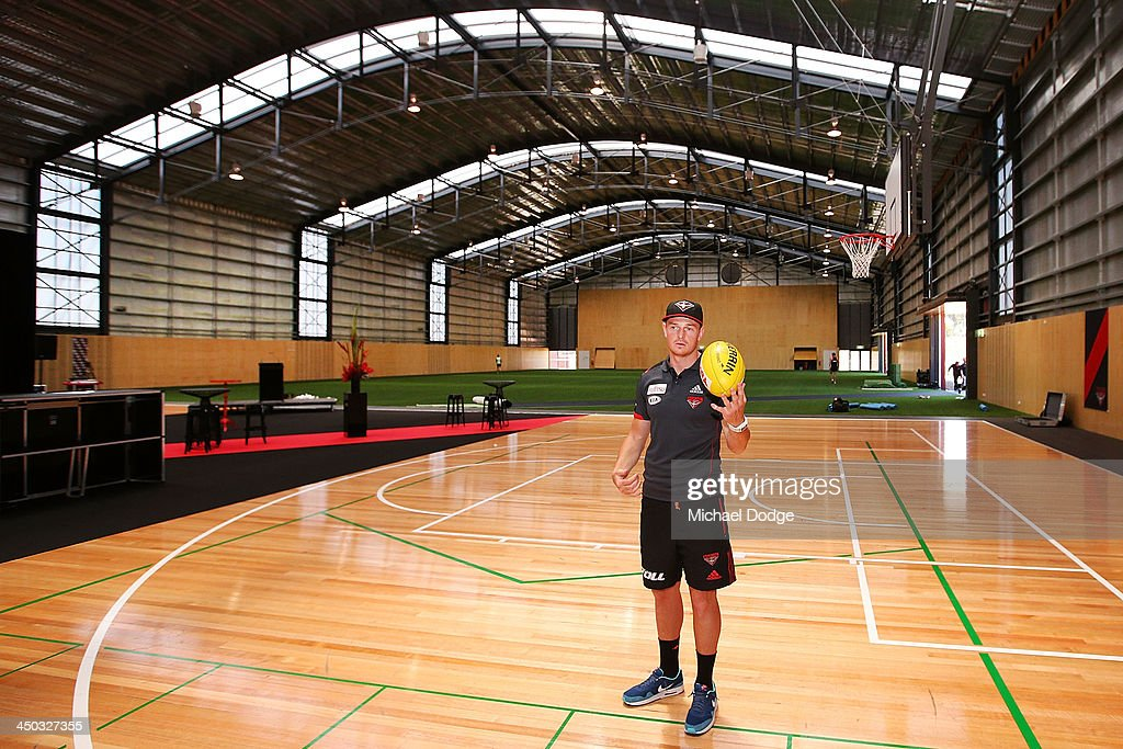 <a gi-track='captionPersonalityLinkClicked' href=/galleries/search?phrase=Brendon+Goddard&family=editorial&specificpeople=217747 ng-click='$event.stopPropagation()'>Brendon Goddard</a> showcases the basketball court inside the hangar at the new Essendon Bombers AFL training facility at Tullamarine on November 18, 2013 in Melbourne, Australia.