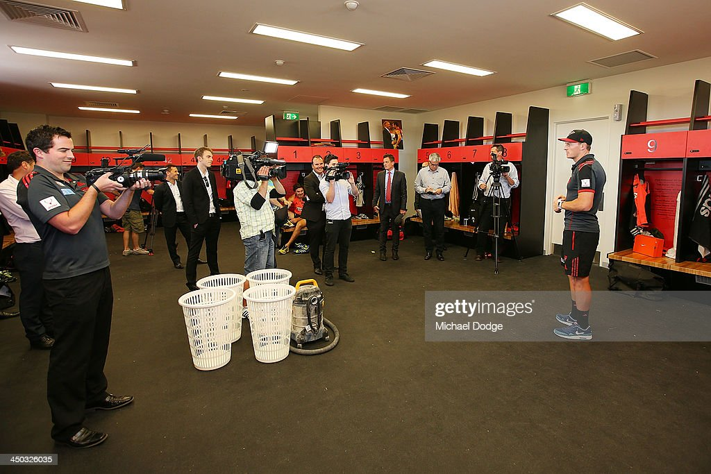 Brendon Goddard takes the media on a tour through the player changerooms at the new Essendon Bombers AFL training facility at Tullamarine on November 18, 2013 in Melbourne, Australia.